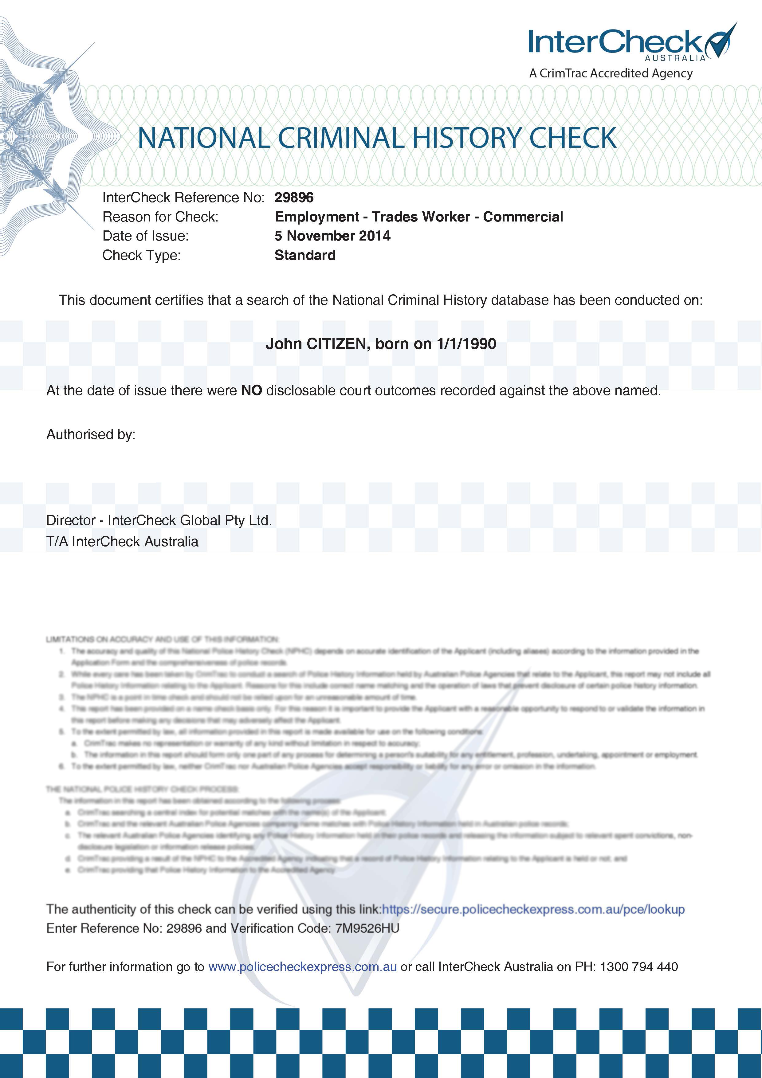 National police checks police clearance act policecheck express view the sample of the police certificate here xflitez Choice Image